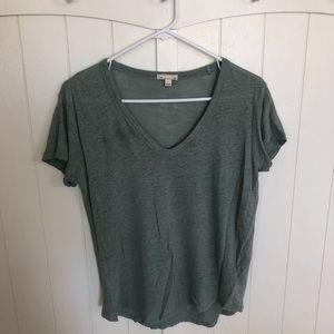 Drab green linen v neck